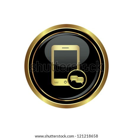 Phone icon with chat menu on the black with gold round button. Vector illustration - stock vector