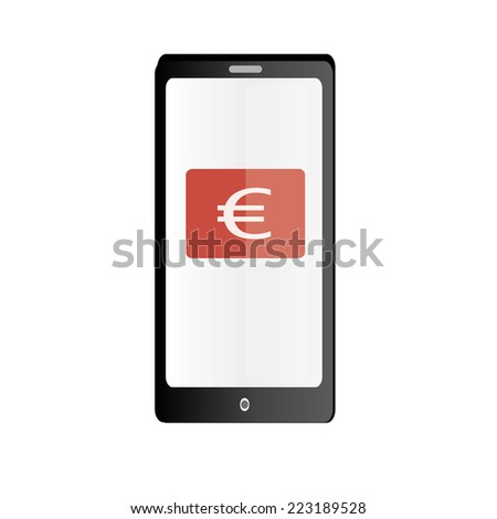 phone icon with euro - stock vector