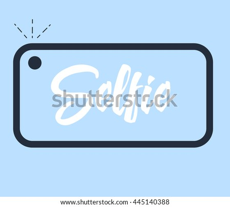 "Phone icon with flash and lettering text ""Selfie"". Vector illustration."