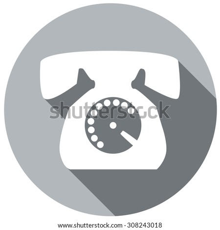 phone icon with long shadow - stock vector