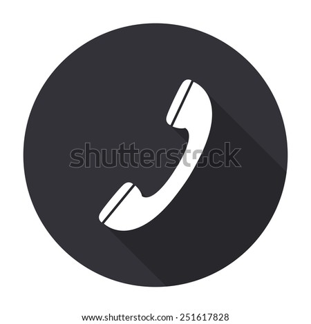 phone icon with long shadow - vector round button - stock vector