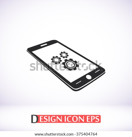 Phone icon with settings menu icon, Phone icon with settings menu pictograph, Phone icon with settings menu web icon, Phone icon with settings menu icon vector, Phone icon with settings menu icon eps - stock vector