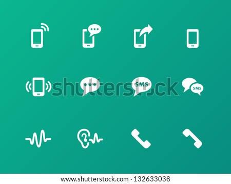 Phone icons on green background. Vector illustration. - stock vector