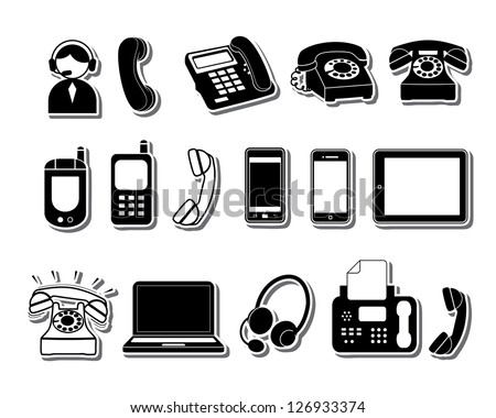Phone icons set - stock vector
