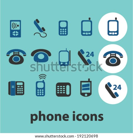 phone icons, signs set, vector - stock vector