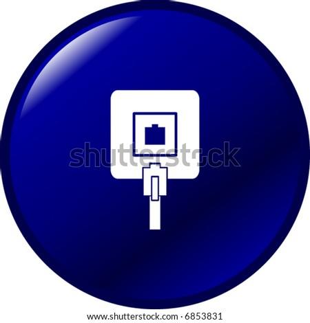 phone jack button - stock vector
