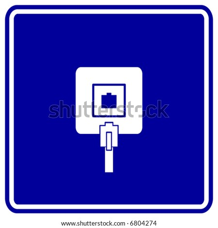 phone jack sign - stock vector