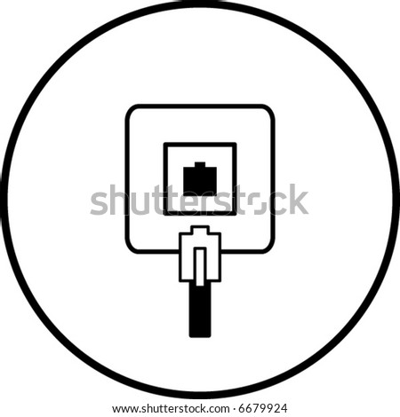 phone jack symbol - stock vector