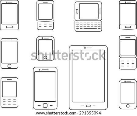 Phone linear icons. Set of phones, pads, gadgets. Black and white phone icons set. Isolated. - stock vector