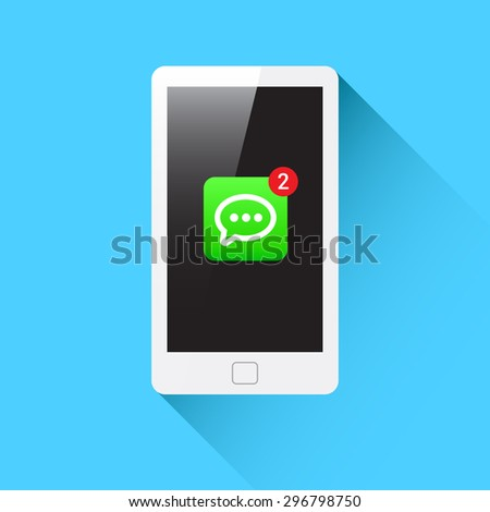 Phone Message Notification Icon - stock vector