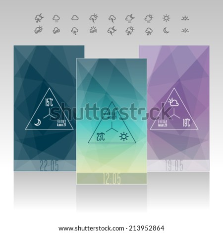 phone Mobile Weather Widget Interface icon and Wallpaper Background Vector Design Template. Graphic design easy editable for Your design. - stock vector