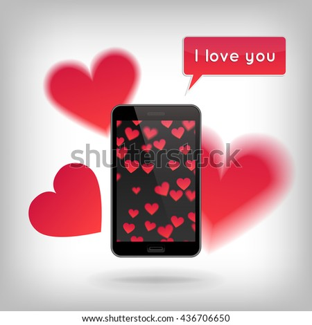 Phone on wooden table with heart pattern and with cut hearts flying around. Valentine's Day and Love concept, realistic illustration