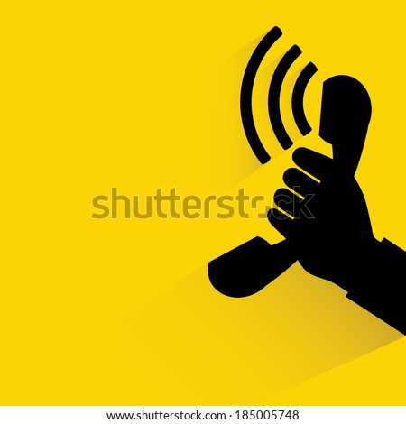 phone on yellow background - stock vector