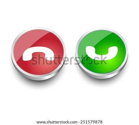 Phone red and green  design elements for website or app. Vector eps10. - stock vector