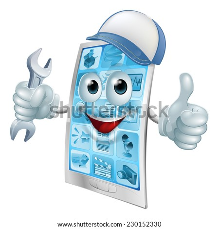 Phone repair cartoon character in cap with spanner doing a thumbs up