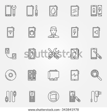 Phone repair icons set - vector mobile phone service signs or tablet logo elements in thin line style - stock vector