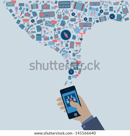 phone's screen take off social media icons - stock vector