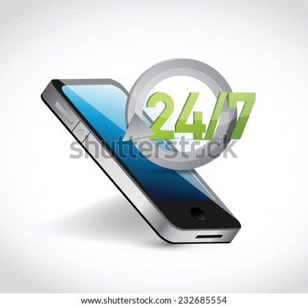 phone 24 7 service illustration design over a white background - stock vector
