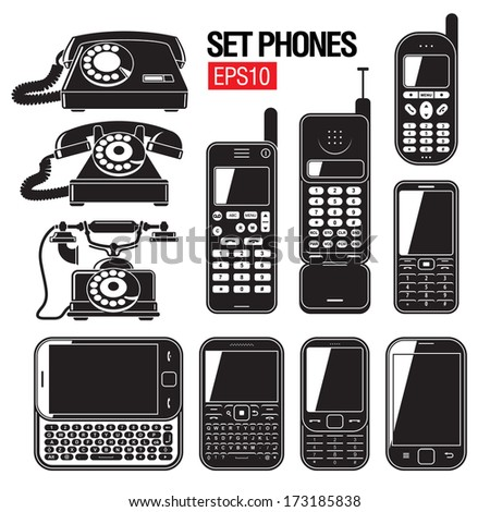 phone set. Modern and Old telephone 40-50's. - stock vector
