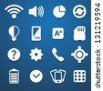 Phone setting icons set white - stock vector