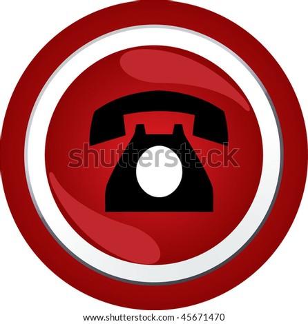 phone sign icon button - stock vector