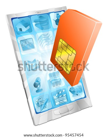 Phone SIM card icon coming out of screen concept - stock vector