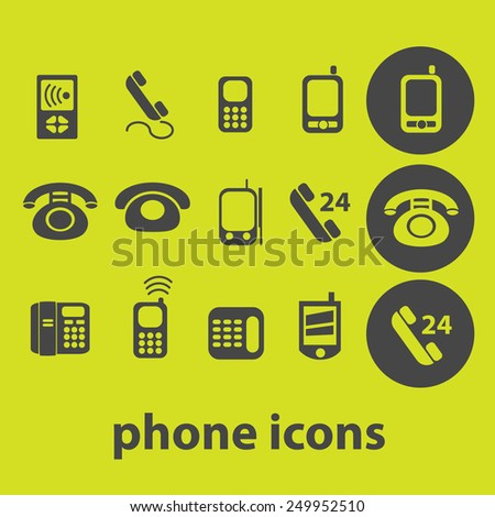 phone, smartphone, mobile icons, signs, illustrations on background set, vector - stock vector