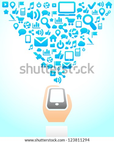 Phone Social Network background of the icons vector