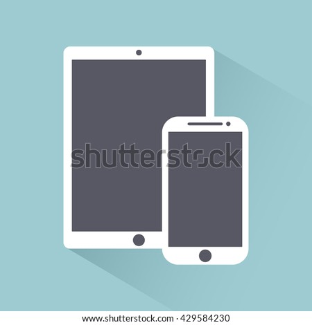 phone, tablet electronic device icons flat style template with shadow isolated on a light background ,stylish vector illustration eps10 - stock vector