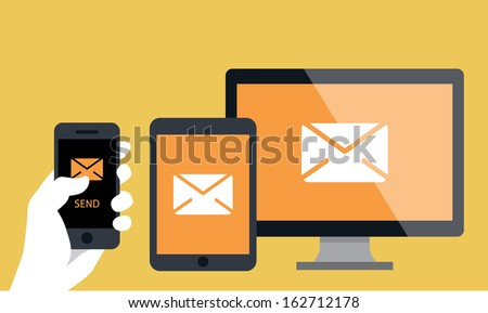 phone to computer - stock vector
