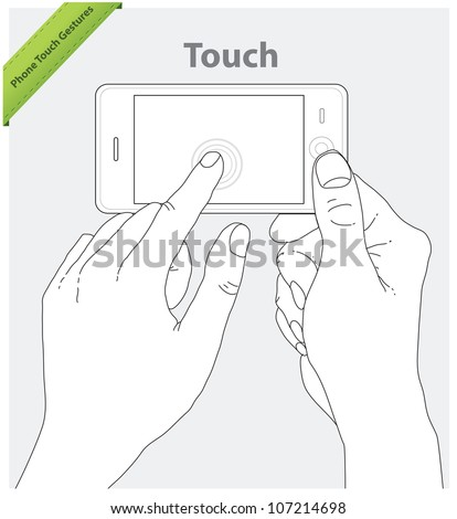 Phone touch gestures. Landscape view - stock vector