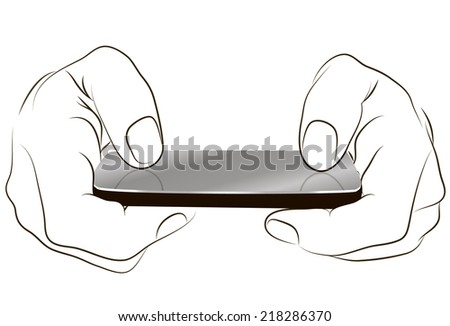 Phone touch gestures. Landscape view. - stock vector