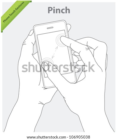 Phone touch gestures. Pinch screen - stock vector
