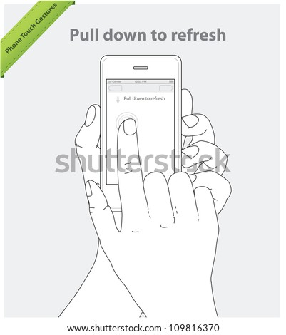 Phone touch gestures. Pull Down to Refresh - stock vector