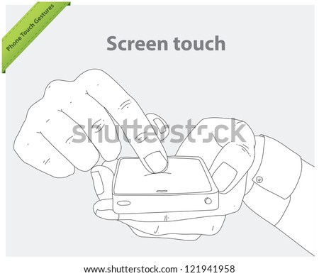 Phone touch gestures. Touch screen - stock vector