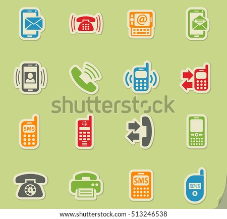 phone web icons on color paper stickers for user interface
