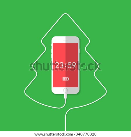 Phone, wire, Christmas tree, clock - stock vector