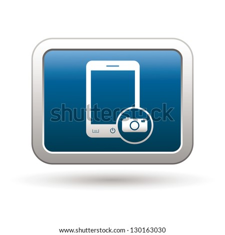 Phone with camera menu icon on the blue with silver rectangular button. Vector illustration - stock vector