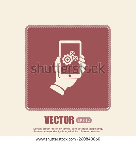 phone with gears and cogs  - stock vector