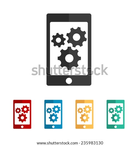 phone with gears and cogs - vector icon, flat design - stock vector
