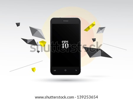 Phone with graphic elements. - stock vector