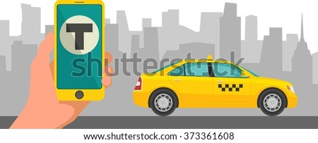 Phone with interface taxi on a screen on a background the city. Mobile app for booking service.  Flat vector illustration for business, info graphic, banner, presentations. - stock vector