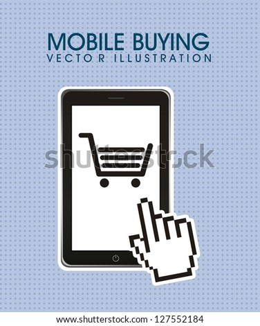 phone with shopping cart, mobile buying. vector illustration - stock vector
