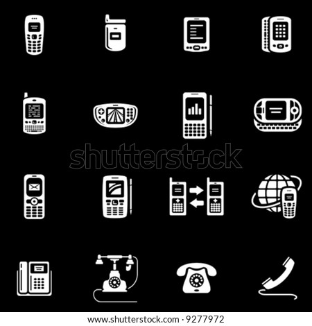 Phones, mobile phones and devices icon set You'll find more icons in my portfolio - stock vector