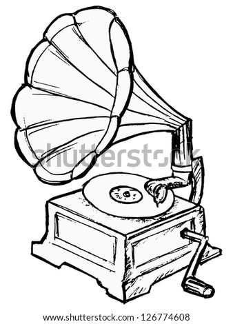 phonograph - stock vector