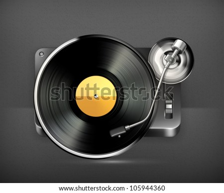 Phonograph turntable, vector - stock vector