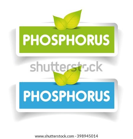 Phosphorus label vector set - stock vector