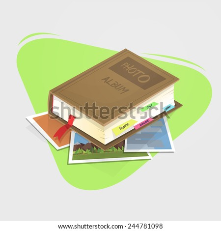 Photo Album of the different places that it has traveled. - stock vector