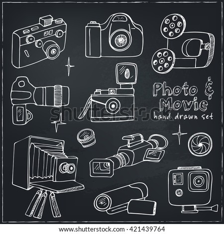 Photo and movie hobby cameras.  icons set.  isolated vector illustration