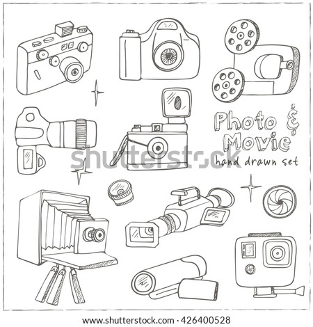 Photo and movie hobby cameras  icons set  isolated vector illustration